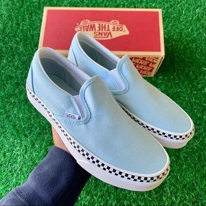 💕Vans Classic Slip On Check Foxing Cool Blue💕